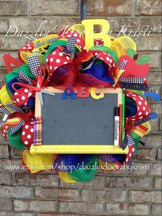 ABC Teacher Chalkboard Wreath on Etsy, $70.00 Would be cute for Teacher Appreciation.