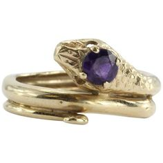 Preowned Amethyst Gold Figural Gothic Curled Coiled Snake Ring (3 195 PLN) ❤ liked on Polyvore featuring jewelry, rings, fashion rings, purple, goth rings, purple ring, yellow gold amethyst ring, 14 karat gold ring and 14k gold jewelry
