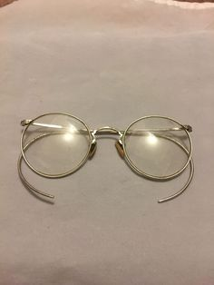 dda688f7014  Vintage 1920s Round White  Gold Filled  JohnLennon Style Eyeglass Frames