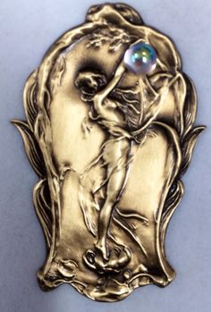 """Brushed Satin Finish On Stamped Brass~""""CRYSTAL BALL""""Art Nouveau Button~2 1/2"""