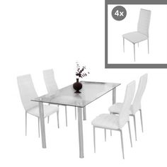 Glass Dining Set Round Dining Table With 4Pcs Dining Chair Faux Magnificent White Leather Dining Room Chairs Sale Design Inspiration