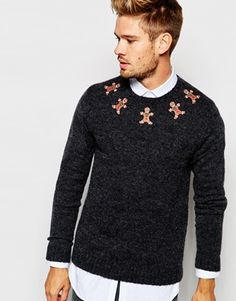 ASOS Christmas Jumper with Gingerbread Men in Wool Mix