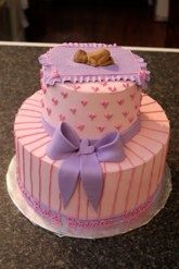 pink  purple baby shower cake