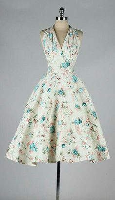 Patterned halter dress, 1950s style