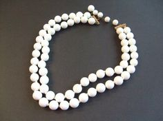 Marvella Necklace/White Bead/ Double Strand/1950's by STLvintage