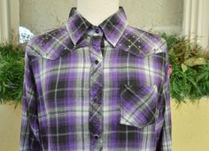 Cumberland Embellished Plaid Western Shirt XL Rodeo Snaps Casual Cotton Comfy #CumberlandOutfitters #Western #Casual