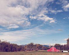 rural farm landscape photograph / red barn blue sky by shannonpix, $28.00