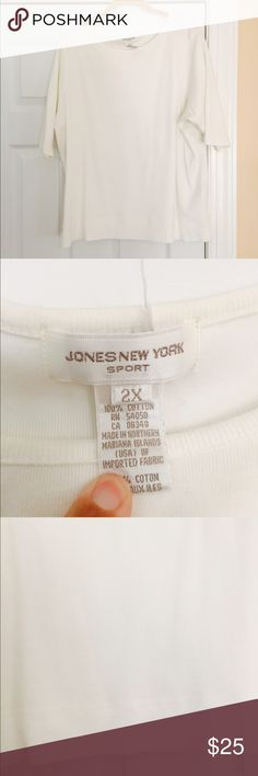 Jones New York Sport white pretty shirt, 2x Jones New York Sport white pretty shirt!  Goes with everything from a skirt to jeans. It is a 2x, but I think runs a little small😄 great condition Jones New York Sport Tops Tees - Short Sleeve