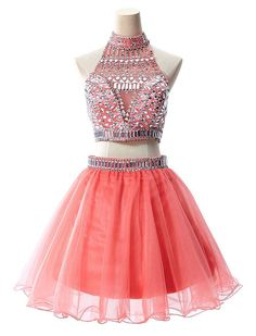 Custom Made Two Pieces Prom Dresses, Party Dresses, Formal Dresses 2015, Evening Dresses, Homecoming Dress, Wedding Dress New, Beading Homecoming Dress
