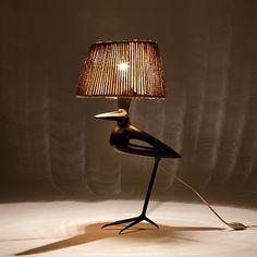 Roger Capron (Vallauris) - table lamp, circa 1950 : ceramic and black enameled metal http://www.galerieriviera.com