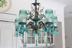 Mason jar chandelier!