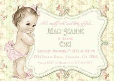 First Birthday Invitation Shabby Chic Floral Vintage by jjMcBean, $23.00