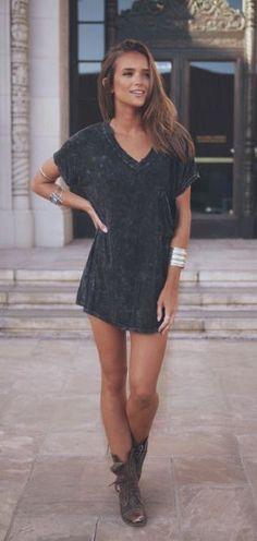 #summer #style / gray shirt dress