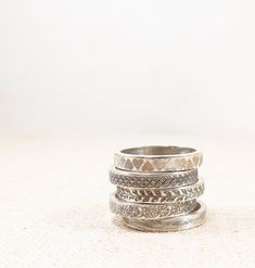 Silver Pattern Ring -  Silver Jewelry - Stacking Rings - Silver Wedding Band
