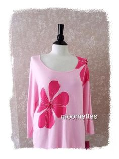 NEW Cathy Daniels Beaded Knit Top Long Sleeve Large Floral Pink Print Womens L #CathyDaniels #KnitTop #Casual