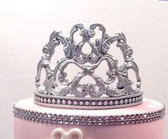 Fondant/ gum paste tiara cake topper by ASpoonfulofSuga on Etsy Fondant Crown, Crown Cake, Bird Cakes, Cupcake Cakes, Tiara Cake, Pillow Cakes, Fondant Tips, Fondant Figures, Cake Decorating Tutorials