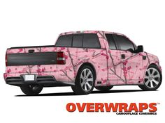 Truck wrapped in Overwraps O Series' Pink Courage Camouflage Vinyl