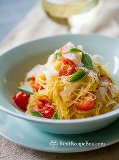 Healthy Baked Spaghetti Squash with Tomatoes & Basil on BestRecipeBox.com