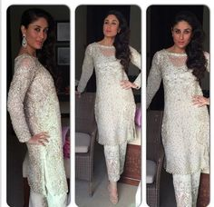 Kareena Kapoor's white salwaar by Faraz Mannan. Indian Bollywood fashion.