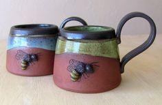 Spring Bee Mug, One of a Kind Gift, Unique Coffee Mug, Custom Cup, Honey Bee
