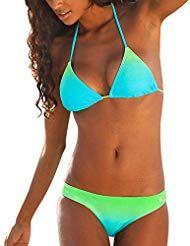 f71154e18f72 Mosstars Costumi da Bagno Donna Bikini Set Intero con Allacciatura al Collo  Costume Donna Mare Due