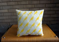 Yellow Stamped Bird Pillow by Hydri on Etsy, $15.00