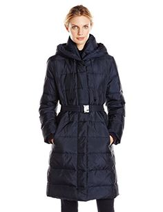 Fleet Street Ltd Womens Belted Down Coat Navy Small ** You can get additional details at the image link. (Note:Amazon affiliate link)