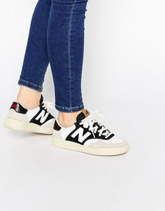 bf709196e93f New Balance Perforated Leather Black   White 300 Court Trainers at asos.com