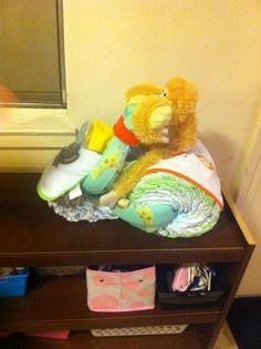 zoo animal motorcycle diapers cake
