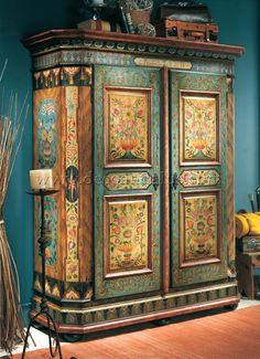 Olive green and cream Bohemian Furniture, Hand Painted Furniture, Funky Furniture, Paint Furniture, Repurposed Furniture, Furniture Makeover, Antique Furniture, Furniture Design, Painted Chairs