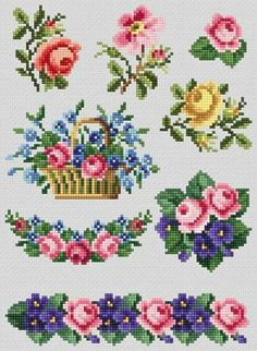Most recent Free Cross Stitch flowers Thoughts Cross Stitch Borders, Cross Stitch Rose, Cross Stitch Flowers, Cross Stitch Charts, Counted Cross Stitch Patterns, Cross Stitch Designs, Cross Stitching, Hand Embroidery Stitches, Cross Stitch Embroidery