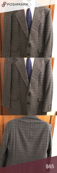 "Aquascutum London Plaid Gingham Blazer size 44R Aquascutum Of London Plaid Gingham Blazer Size 44R 100% Wool Black grey blue houndstooth 2 Button front 4 Button sleeves No size tag Refer to measurements  Chest 24"" across Waist 22.5"" across Sleeves 24.5"" Shoulders 20"" Length 32"" Vent 11"" Excellent Condition Aquascutum London Suits & Blazers Sport Coats & Blazers"