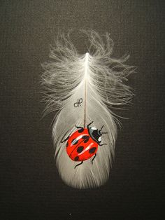 Ladybug painted on feather