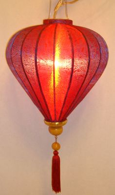 Vietnamese Diamond Shaped Purple Red Silk Lantern