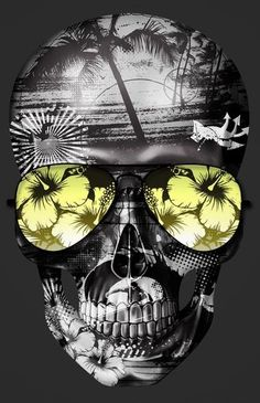 ☆ Hawaii Skull Surf.。Art By :→: RUSS ☆ Diy Poster, Totenkopf Tattoos, Hawaii Surf, Skull Artwork, Skull Wallpaper, Skulls And Roses, Human Skull, Surf Art, Skull Design