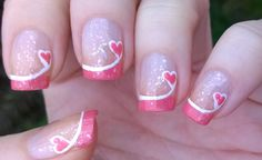 Nail Designs for Valentines Day Luxury French Manicure Ideas 4 Valentine S Day P. - Nail Designs for Valentines Day Luxury French Manicure Ideas 4 Valentine S Day Pink Tip Nails - Nail Art Saint-valentin, Heart Nail Art, Heart Nails, Valentine's Day Nail Designs, Fingernail Designs, Nails Design, Heart Nail Designs, Pedicure Designs, Makeup Designs