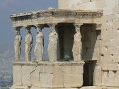 Greek Architecture, made entirely of stone. Many structures in Ancient Greece had decorative pillars or pillars carved into statues while still acting as support for the roof.