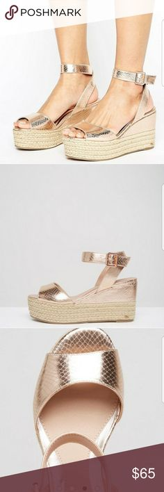 ASOS espadrilles Head Over Heels By Dune Kalmia Espadrille Flatform Sandals. Rose gold.   Worn a couple of times. Excellent condition. ASOS Shoes Espadrilles
