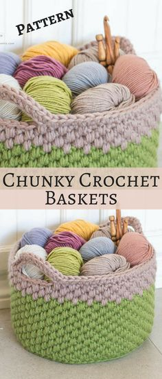 Woodland Moss Chunky Basket Crochet Pattern. Perfect for adding a touch of rustic charm to any room or to display all your pretty yarns and hooks in  #basket #ad #crochetpattern
