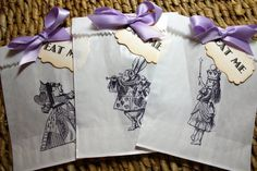 Alice in Wonderland Glassine Favor Bags & Tags - 4 1/2 x 6 3/4 - SET OF  5 - Personalized - You choose ribbon color