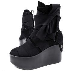 Designer Black Studded Leather Open Toe Platform Gothic Boots Women SKU-11405463