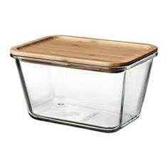 IKEA Food container with lid, rectangular glass, bamboo. Tight-fitting lid which keeps food fresh and preserves aromas and flavours. The natural bamboo creates a warm and vibrant look. Read the full product details here Storage Bins With Lids, Food Storage Organization, Glass Food Storage, Ikea Storage, Food Storage Containers, 365 Jar, Tapas, Safe Glass, Heat Resistant Glass