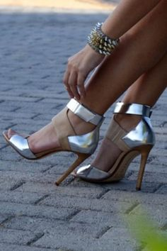 Silver and taupe colour block heels