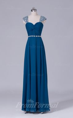 Long Chiffon Straps Aegean Prom Dress with Short Sleeves PRBD04-S499
