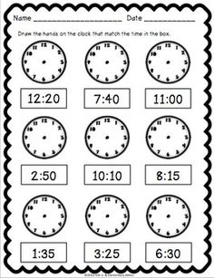 Telling Time Pack {Worksheets, Game & Task Cards} by Kim Solis 3rd Grade Math Worksheets, Preschool Worksheets, Teaching Time, Teaching Math, Learning Activities, Time Activities, Second Grade Math, Math Lessons, Spanish Lessons