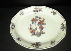 Vintage Oval Porcelain Platter Plate or Tray Asian Flowers Decor