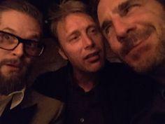 Bryan Fuller, Mads Mikkelsen, Aaron Abrams -- Hannibal Wrap Party