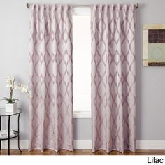 @Overstock - Santee Back Tab Curtain Panel - With a gorgeous modern geometric lattice design, this single curtain panel comes in beautiful champagne, lilac or java. The pocket measures three inches and the panel features a back tab construction.  http://www.overstock.com/Home-Garden/Santee-Back-Tab-Curtain-Panel/8768547/product.html?CID=214117 $75.99