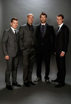 Andrew Ference of the Edmonton Oilers, Ryan Getzlaf of the Anaheim Ducks, Brent Burns of the San Jose Sharks, and Tuukka Rask of the Boston Bruins pose for a portrait during the 2014 NHL Awards at Encore Las Vegas on June 2014 in Las Vegas, Nevada. Ryan Getzlaf, Brent Burns, Nhl Awards, Anaheim Ducks, San Jose Sharks, Edmonton Oilers, Sport 2, June 24, Boston Bruins