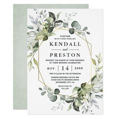 Geometric Greenery Modern Gold Succulent Wedding Invitation Wedding Invitations Elegant Modern, Succulent Wedding Invitations, Elegant Modern Wedding, Summer Wedding Invitations, Elegant Wedding Invitations, Rustic Wedding, Formal Wedding, Luxury Wedding, Wedding Ideas